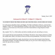 """Emily Nash on Instagram: """"Huge congratulations to the Duke and Duchess of Sussex, who welcomed their daughter Lilibet """"Lili"""" Diana Mountbatten Windsor on Friday 4…"""" Meghan Markle Prince Harry, Prince Harry And Meghan, Royal Family History, Elisabeth, Mother And Child, Duke And Duchess, Diana, Lily, Daughter"""