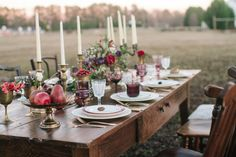Fall wedding table: http://www.stylemepretty.com/georgia-weddings/macon/2014/04/15/elegant-eclectic-farm-wedding-inspiration/ | Photography: Jess Hunter - http://www.jesshunterphotography.com/