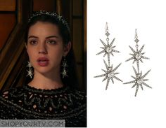 Mary Queen of Scots (Adelaide Kane) wears these silver star earrings in this week's episode of Reign. They are the R.J. Graziano Double-Star Pave Earrings. Buy them HERE