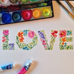 Love and craft. Watercolor Lettering, Watercolor Cards, Watercolour Painting, Watercolor Flowers, Painting & Drawing, Hand Lettering, Watercolours, Watercolor Techniques, Doodle Art