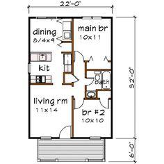 Bungalow 2 Beds 1 Baths 704 Sq/Ft Plan #79-102 Main Floor Plan - Houseplans.com