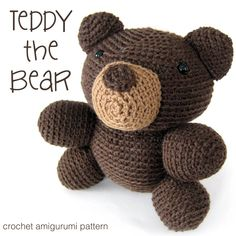 Meet Teddy! He's the favorite bear you had as a kid… or maybe wished you had. :-) It's an easy crochet pattern for beginners, with links to video tutorials teaching every skill you'll need to make it. Doll Patterns Free, Crochet Animal Patterns, Crochet Patterns For Beginners, Crochet Animals, Quilt Patterns, Softie Pattern, Crochet Doll Pattern, Crochet Patterns Amigurumi, Crochet Dolls