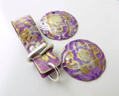 3-piece handmade antiqued purple copper components HC14-008 | SharylsJewelry - Jewelry on ArtFire