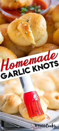 Soft Garlic Knots are the best side for any kind of dish, and so easy to make from scratch. This easy recipe has step by step instructions and photos! #garlic #bread #knots #kyleecooks