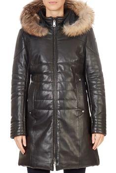 'Montreal' Black 3/4 Length Leather Puffer Coat | Jessimara