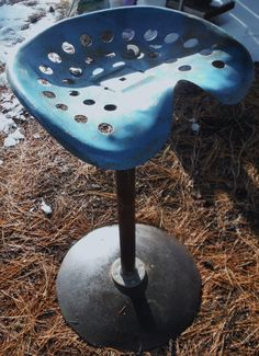 Antique 32 Tall Old Stool With Metal Tractor by dustybunnyranch