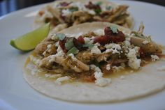 shredded chicken and tomatilo tacos with queso fresco. YUM!