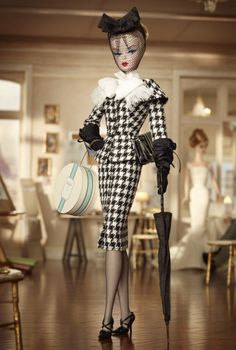 now this Barbie is just too fab...houndstooth vintage suit...parasol...hat box...looking good...
