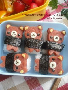 holy nyam and omg so cute Rilakkuma spam sushi Japanese Food Art, Japanese Lunch Box, Cute Bento Boxes, Bento Box Lunch, Bento Food, Desu Desu, Kawaii Bento, Sushi Art, Bento Recipes