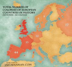 Total Number of Colonies of European Countries in History World History Lessons, Teaching History, History Facts, European History, Ancient History, American History, Modern History, Native American, Country Maps