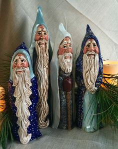 Old World Santas. Hand carved and painted original designs by Elizabeth Brown, Liverpool ,NS