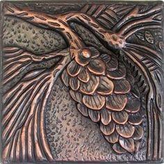 Copper Tiles Pine Cones In Stock Craftsman Tile, Clay Tiles, Ceramic Tile Art, Style Tile, Arts And Crafts Movement, Tile Design, Pine Cones, Pottery Art, Metal Art