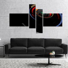 Designart 'Fractal 3D Circled Stripes' Abstract Canvas Art Print