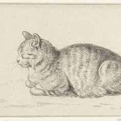 Liggende kat, naar links, Jean Bernard, 1811 - Rijksmuseum