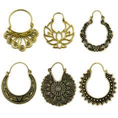 Ottone Tono Oro Ornato Swirl Del Cerchio Gypsy Tribale Indiana Orecchini Etnici Boho Monili Del Corpo