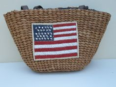 Crystal Embellished Straw Purse with the American by ShadesOfBling,