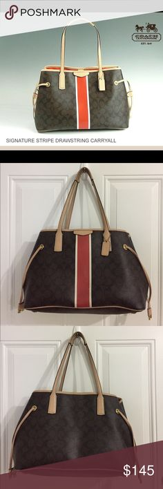 Firm price!!! COACH Signature Drawstring Carryall Send me your offer - Gorgeous Coach Signature Drawstring Carryall in great condition. It has some very minor wear as you can see in the photos. Those are the only signs of wear. The inside is very well taken care of. NO Lowballin' 🙅🏼 Coach Bags Satchels