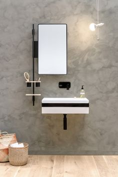 Single washbasin with towel rail LINK by EVER by Thermomat Saniline design Diego Cisi
