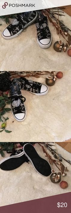 Zebra Women's Converse Sneakers... Black and White gently Used...have been washed ready for you... Converse Shoes Athletic Shoes