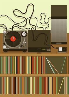 Living room and stereo system for 'HOME' Exhibition, illustration by Stanley Chow, London. Vinyl Music, Vinyl Art, Vinyl Records, Lps, Graphic Design Illustration, Illustration Art, Stanley Chow, Vinyl Junkies, Smart Art