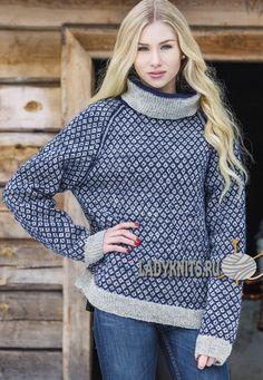 Как вязать модный свитер реглан с жаккардовым узором
