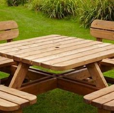 Picnic Table Bench Garden Set 8 Seater Pine Wood Pub Park Made in Britain New