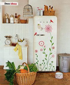 Smeg retro fridge with decal stickers by sososimps Smeg Fridge, Retro Fridge, Ugly Fridge, Vintage Refrigerator, Vintage Fridge, Interior Minimalista, Home Living, Living Room, Vintage Roses