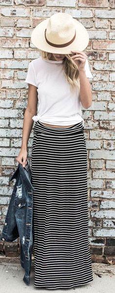 #summer #outfits Light Nicoya Panama Hat + White Malibu Crewneck Tee + Brooklyn Striped Pocketed Skirt