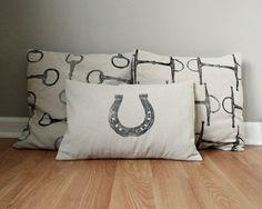Equestrian Pillow Covers Set of Three handprinted by redmaplerun, $80.00