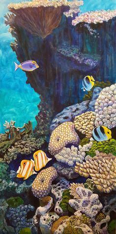 Buy Gathering, Acrylic painting by Kris Fairchild on Artfinder. Discover thousands of other original paintings, prints, sculptures and photography from independent artists. Coral Reef Drawing, Coral Reef Art, Acrilic Paintings, Acrylic Painting Canvas, Brain Drawing, Original Paintings, Ocean Paintings, Ocean Creatures, Coastal Art
