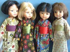 De Lunalila cave. Muñecas Las Amigas de Paola Reina vestidas con kimono.