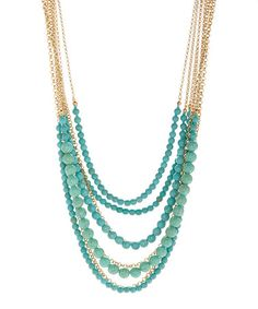 Another great find on #zulily! Turquoise & Goldtone Multi-Strand Necklace #zulilyfinds