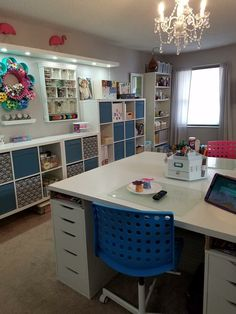 Flower paint storage top left of the pic. - Flower paint storage top left of the pic. Sewing Room Design, Craft Room Design, My Sewing Room, Craft Room Decor, Craft Room Storage, Craft Room Lighting, Basement Craft Rooms, Paper Storage, Space Crafts