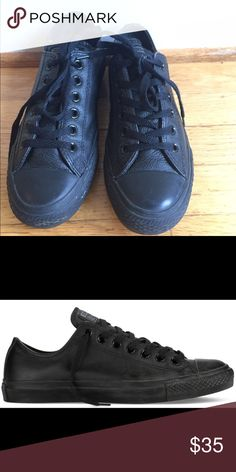 Black Leather Low Top Converse Black leather low-top Converse in excellent condition. Size women's 7.5 Converse Shoes Sneakers
