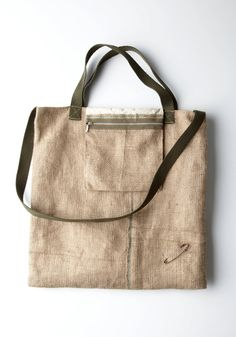 Burlap & Muslin Tote with a Flip Pouch by vasiltsarev on Etsy, $55.00
