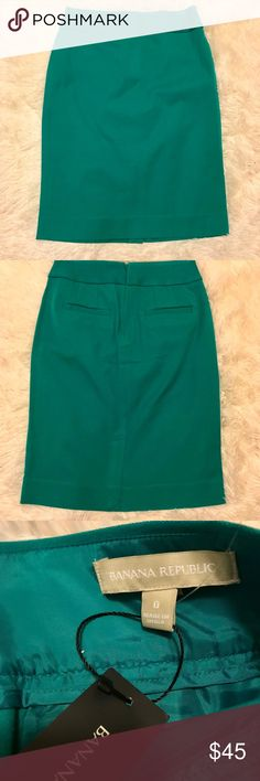Banana Republic Pencil Skirt Teal Size 0 This skirt is gorgeous! It is brand new with tags.   About Me All my items come from a smoke free home.  Contact Me Please message me with any questions. I check my mail frequently and will respond as soon as I can. Thanks for looking! Banana Republic Skirts Pencil