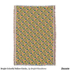 Bright Colorful Yellow Circle Pattern Throw