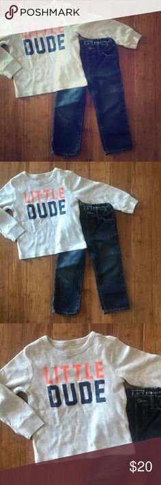 🆕 NWT The Children's Place Thermal & Jeans 🆕 NWT The Children's Place Thermal & Jeans - Size 2T. 'Little Dude' Long Sleeve Light Grey/Oatmeal Thermal; Dark Blue Straight Leg Jeans. Thermal is 60% Cotton; 40% Polyester. Jeans are 66% Cotton; 34% Polyester. The Children's Place Other