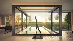 #Piscina #Porche #moderno #decoracion via @planreforma #accesorios #vidrio #sofas #ventanas