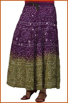 Dark Purple and Olive Green Cotton Readymade Bandhej Ankle Length Skirt Online Shopping: BED5