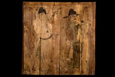 A Rare early Painted Wood Panel Liao Dynasty (907 – 1125). two musicians playing there respective instruments . Wearing a long robe and thus not exposing any part of his body except for the neck, a belt around his waist, and large hats. The paintings and were found in a tomb located in Inner Mongolia, today Chi Feng.