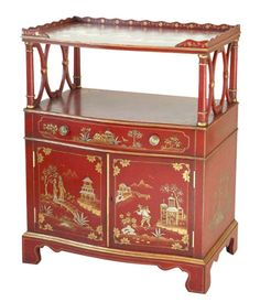 Lacquered Red Chinoiserie Miniature Chiffonier  manufactured by Smith & Watson