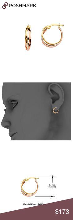 Diameter - 35 MM TGDJ 14K Yellow White Curled Hoop Earrings