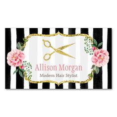 Modern Hair Stylist Girly Gold Pink Floral Striped Double-Sided Standard Business Cards (Pack Of 100)