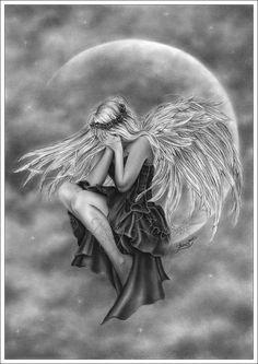 Crying Moon Angel Art Print Glossy Emo Goth Girl Fantasy