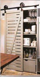 It just occurred to me that it is totally feasible to take off the clunky bi-fold doors in the kitchen pantry and fit a fab barn door just like this. Barn Door Pantry, Barn Door Closet, Sliding Closet Doors, Wooden Pantry, Room Doors, Interior Barn Doors, Pantry Interior, Diy Door, Barn Door Hardware