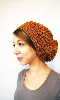 Oooh, need to find a knitting pattern to make this one. Slouchy berets are the best.