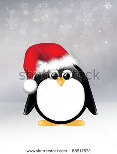 Cartoon penguin on snowflake background. Also available in vector format - stock photo
