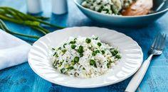 Рис с зеленым луком, горошком и зирой