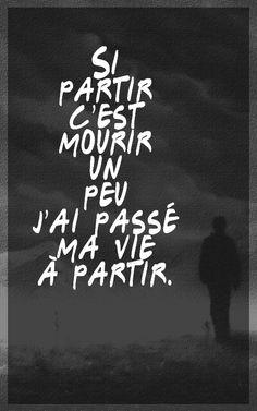 """Si partir c'est mourir un peu, j'ai passé ma vie à partir... Hubert Félix Thiéfaine """"Petit matin 4.10 heure d'été""""... Hubert Felix Thiefaine, I Am Sad, Music Quotes, Sentences, Positive Thoughts, Photographs, Words, Quotes, Frases"""
